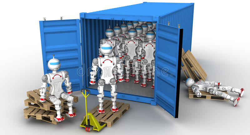 Robots in the cargo container. A large number of robots standing in an open freight container. Unloading or loading of the container. . 3D Illustration stock illustration