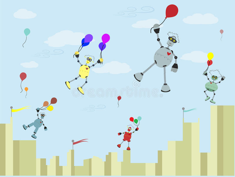 Download Robots Carrying Balloons Float Up Into The Air Stock Vector - Image: 16354311