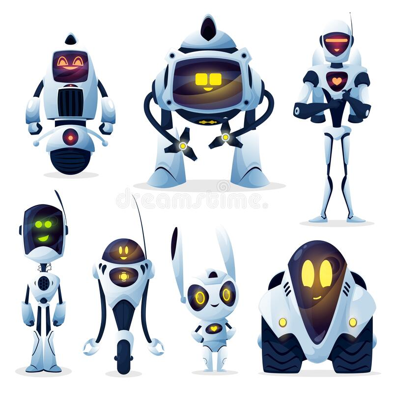 Free Robots Cartoon Characters, Android And Cyborgs Royalty Free Stock Image - 216526836