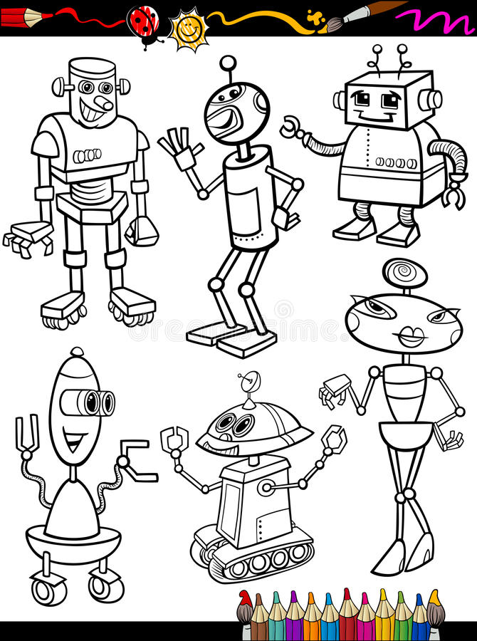 Science Coloring Book : Robots cartoon set for coloring book royalty free stock