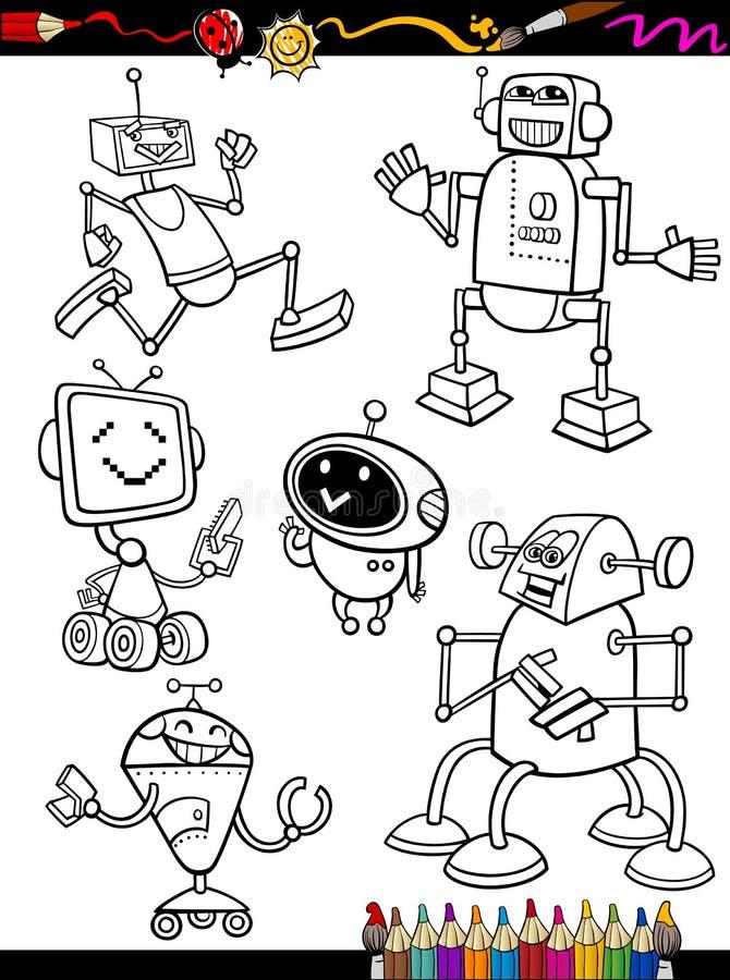 Robots Cartoon Set for coloring book vector illustration