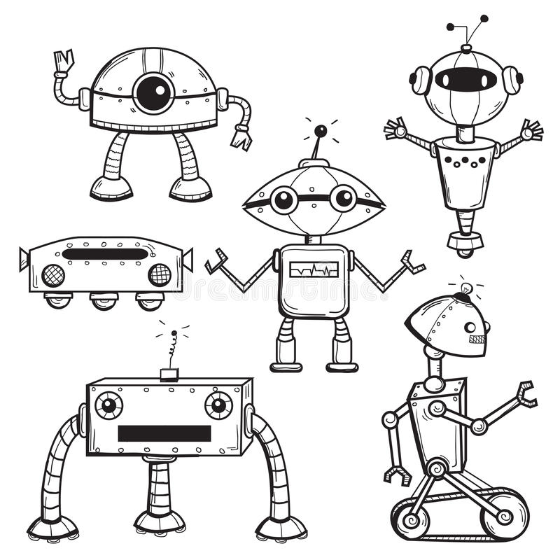 Download Robots collection stock vector. Illustration of sketchy - 25064950