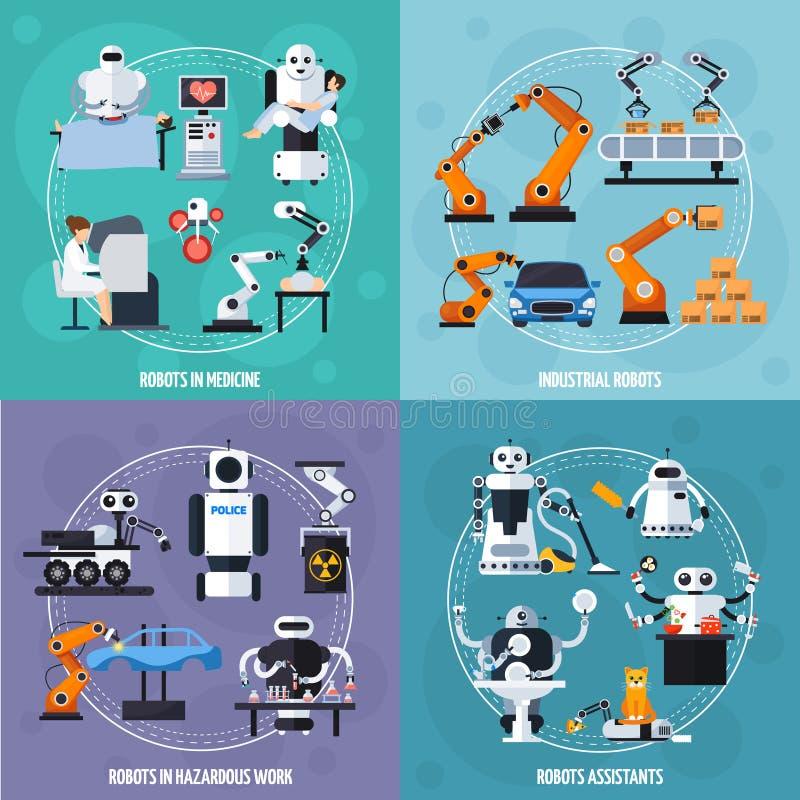 Robots Concept Icons Set royalty free illustration