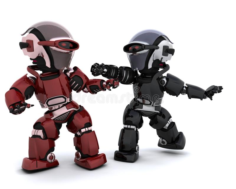 Robots in conflict royalty free illustration