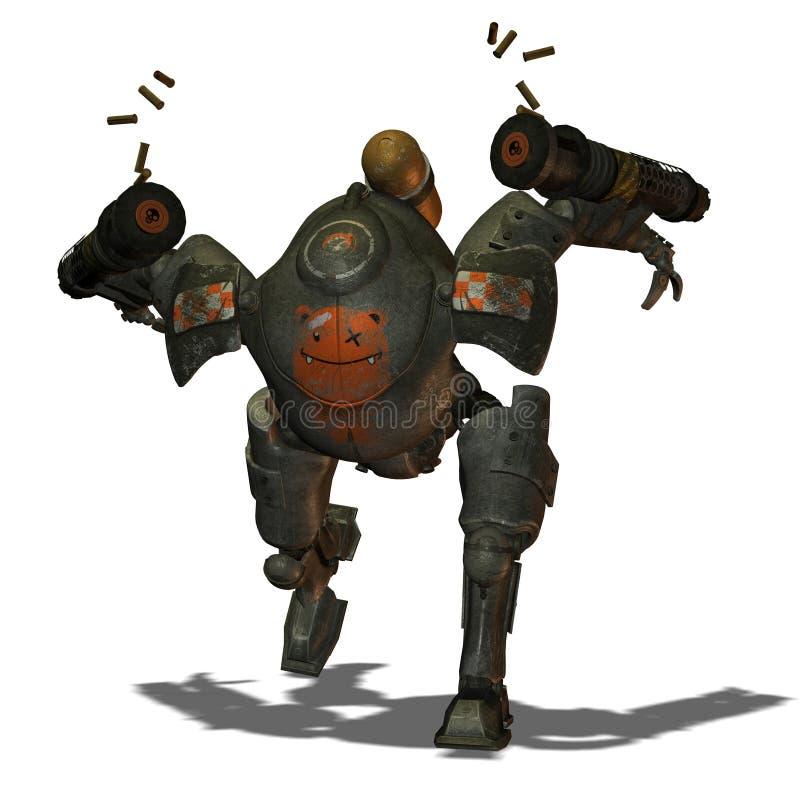 Robots courants de bataille dans le type de Steampunk illustration stock
