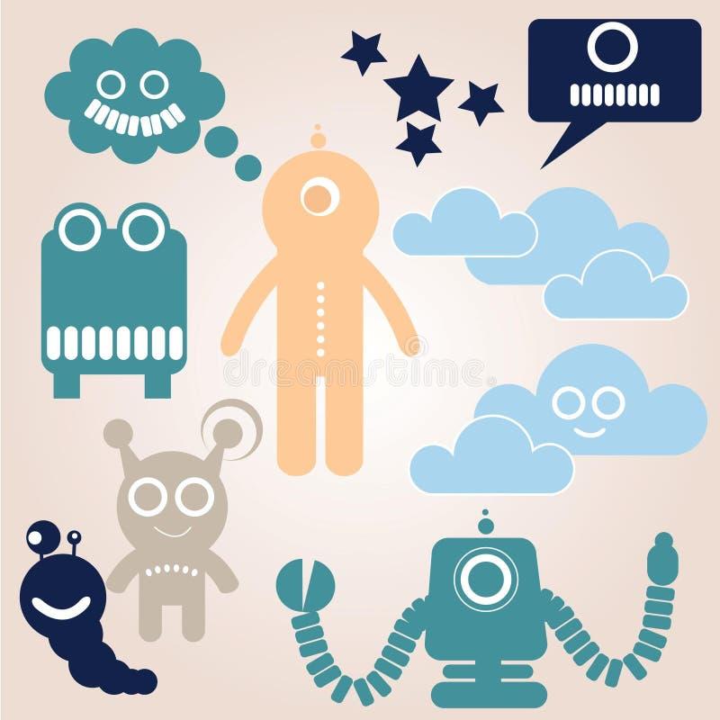 Robots d'étranger d'espace illustration stock