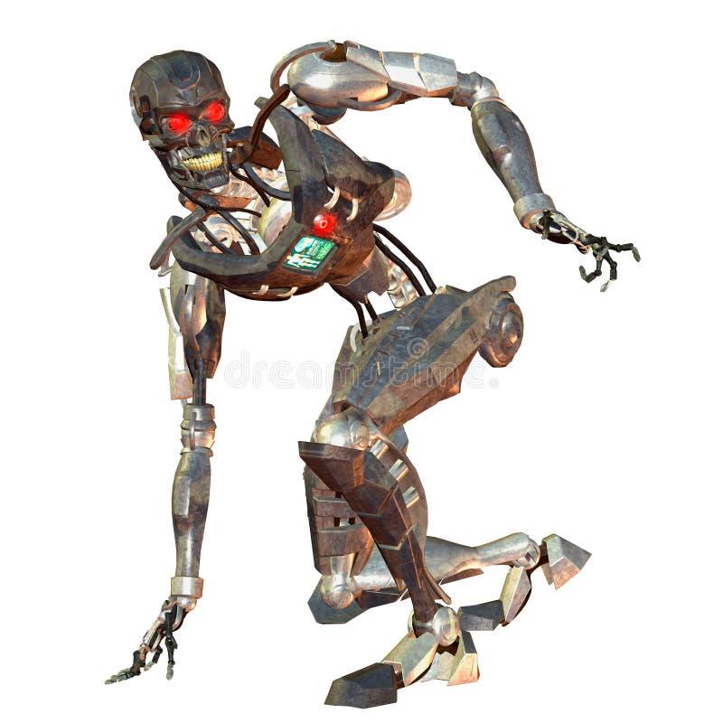 Robots de combat en position courbée illustration stock