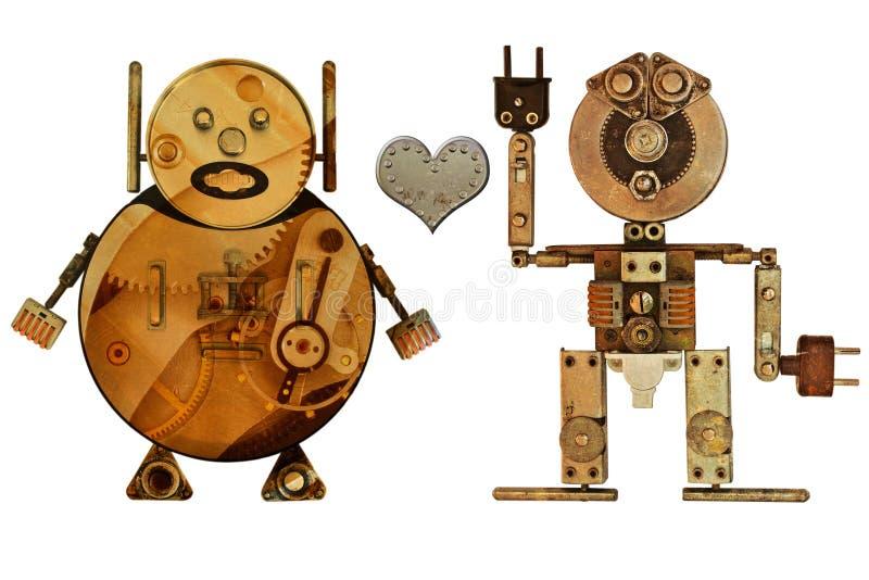 Robots de los amantes stock de ilustración