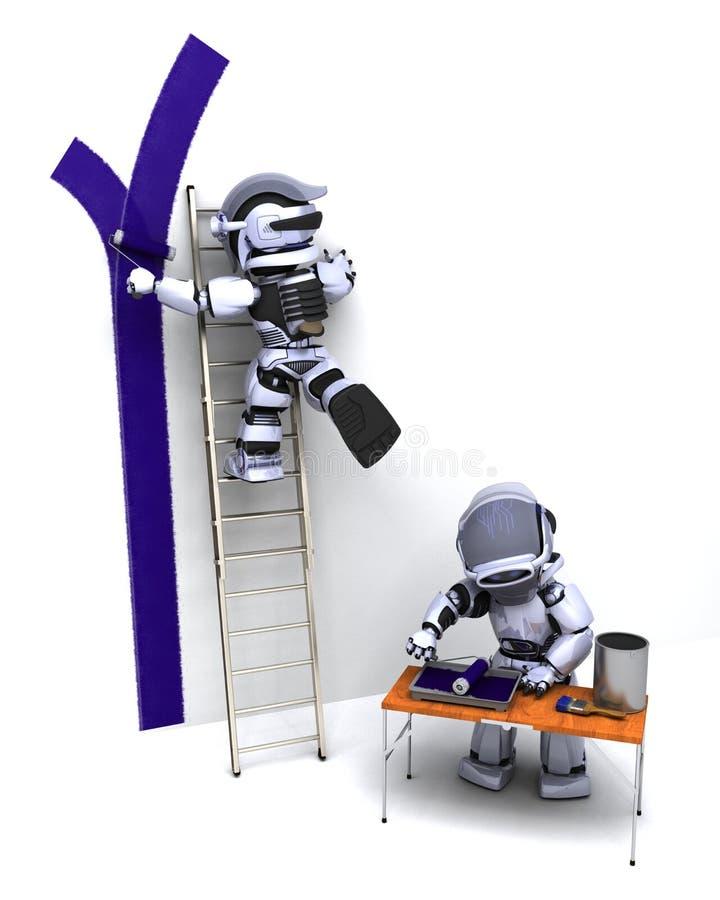 Download Robots decorating a wall stock illustration. Image of renovating - 16300037