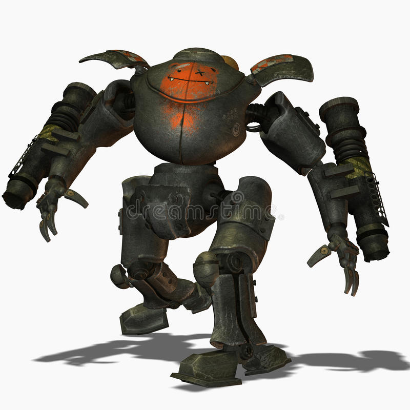 Robots del combate de Steampunk stock de ilustración