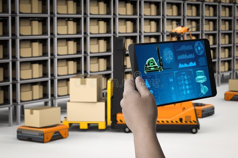 Robots del control del técnico ilustración del vector