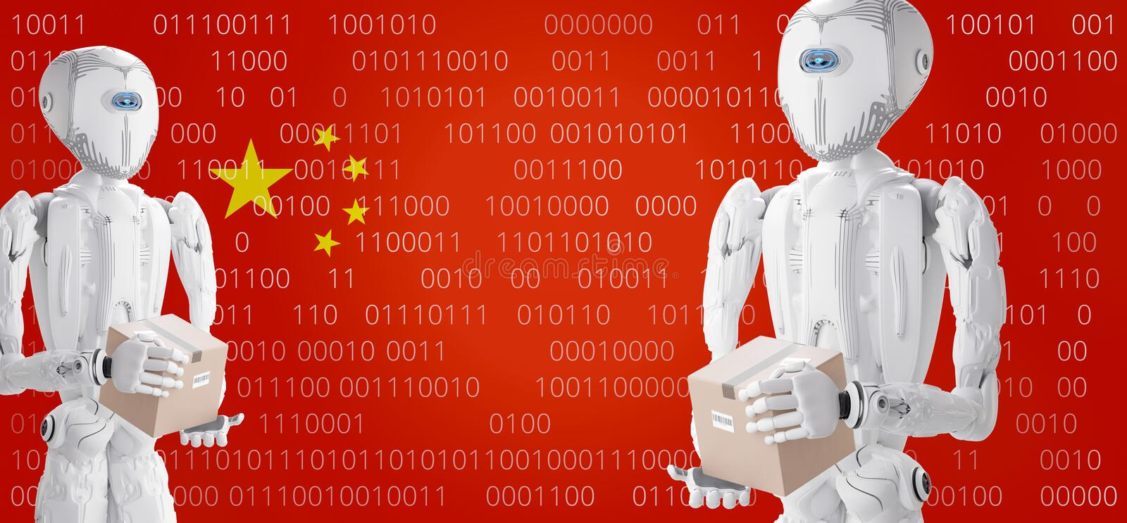 Robots with delivery box in front of the flag of China, artificial intelligence 3d illustration stock illustration