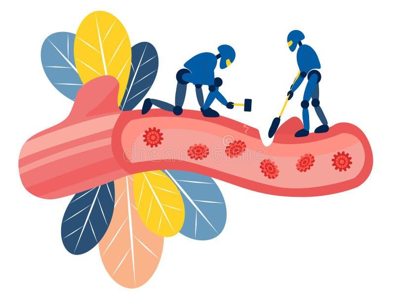 Robots destroy human vessels, extract a vital resource. In minimalist style Cartoon flat Vector stock illustration