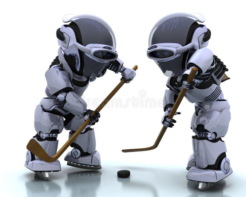 Robots die icehockey spelen stock illustratie