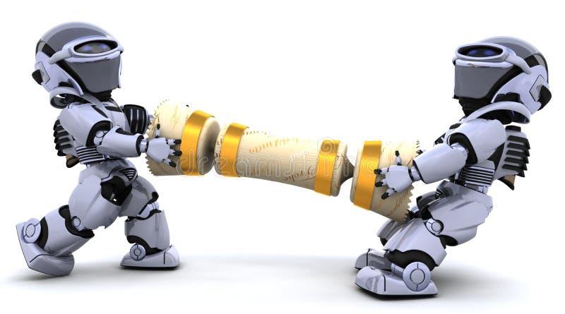 Robots die op een Kerstmiscracker trekken vector illustratie