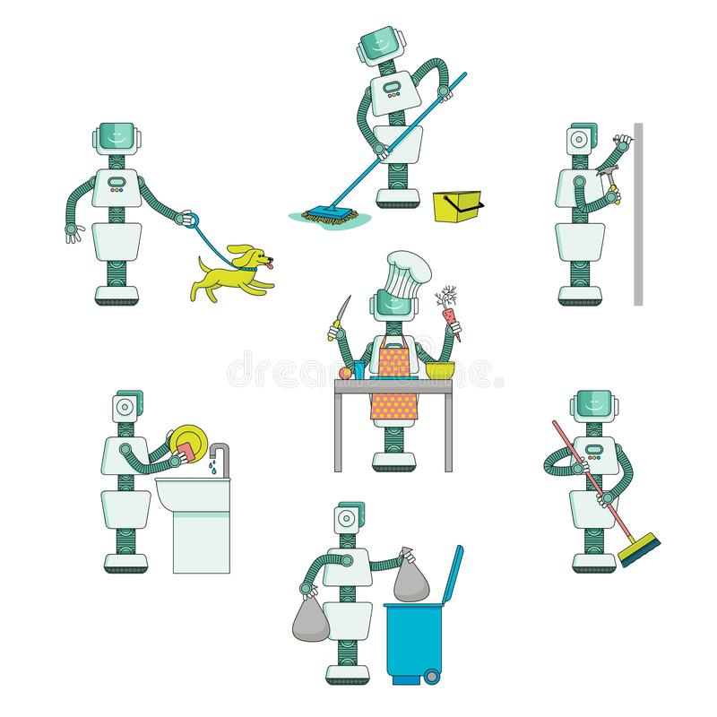 Flat robots do routine chores, help with housework. Robots do housework - wash dishes and floor, cook, take garbage out, walk the dog, drive nails into wall royalty free illustration