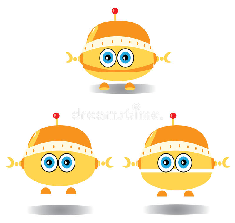 Robots drawn. Children's decorative background with robots drawn vector illustration