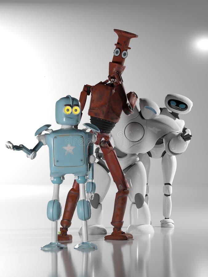 Robots en línea 3d rinden stock de ilustración