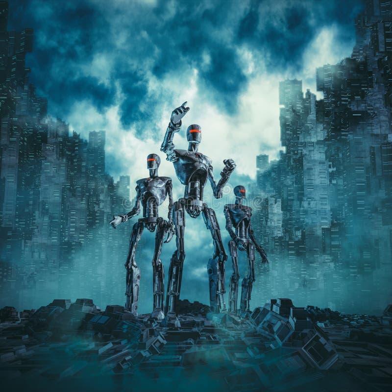 Robots en patrulla ilustración del vector