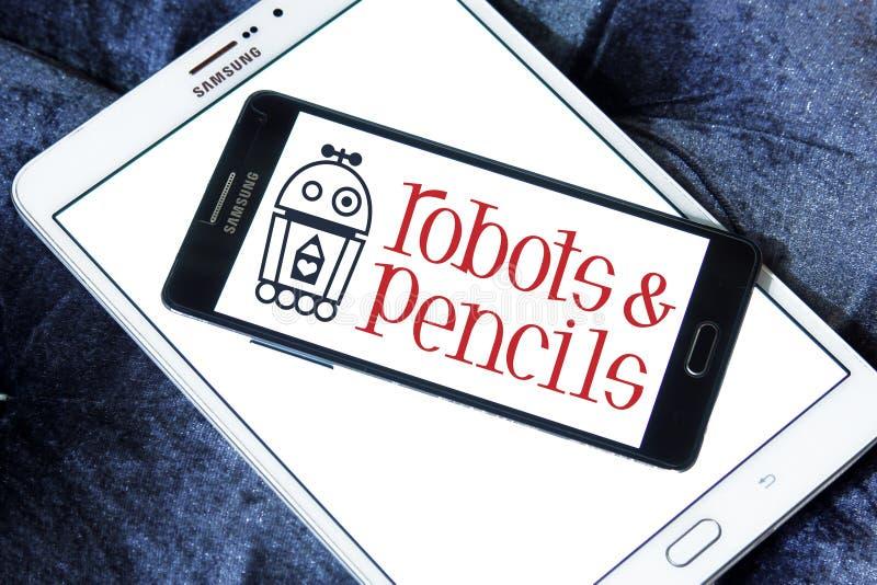 Robots en Potloden vast embleem stock foto