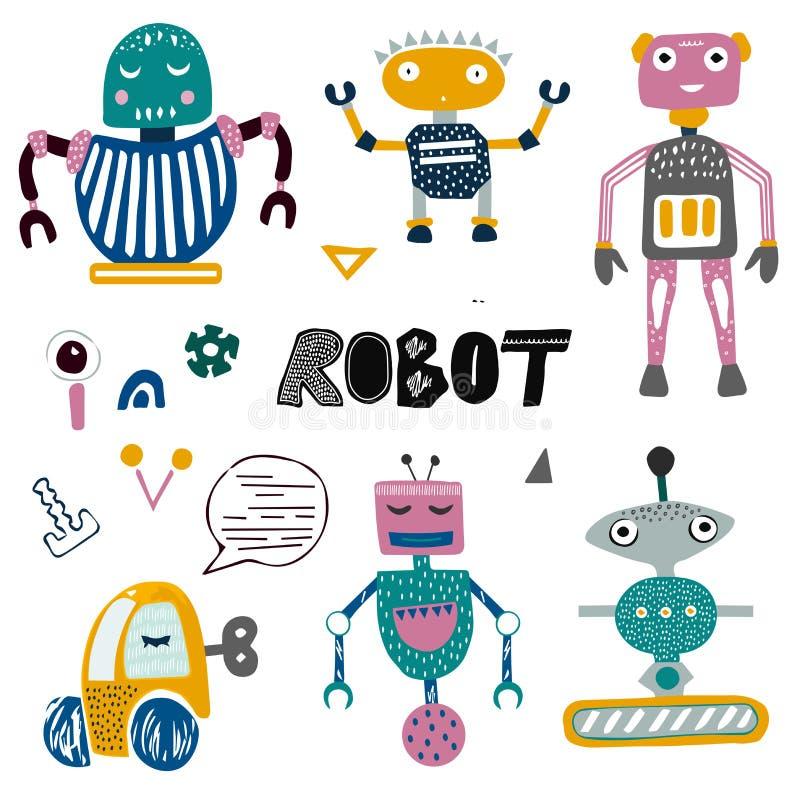 Robots en praatje bots inzameling Geïsoleerde karakters Hand getrokken ilustration Beeldverhaalstijl voor jonge geitjes, kinderen vector illustratie