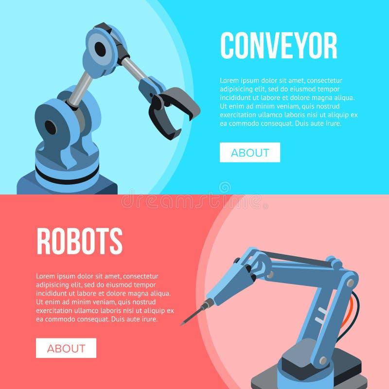 Robots en Transportbandbanner stock illustratie