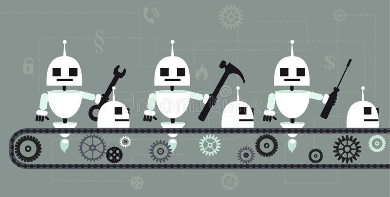 Robots en un transportador ilustración del vector