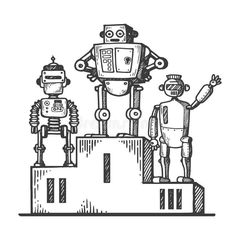 Robots en vector del grabado del pedestal del deporte ilustración del vector