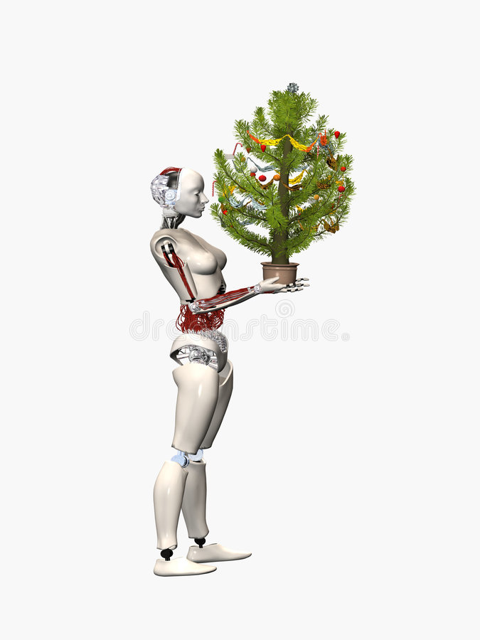 Robots in eve of Christmas royalty free illustration