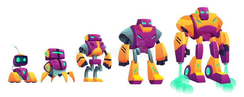Robots evolution time line cartoon vector illustration. Robots evolution cartoon vector isolated illustration on white background. Robotics technologies progress vector illustration
