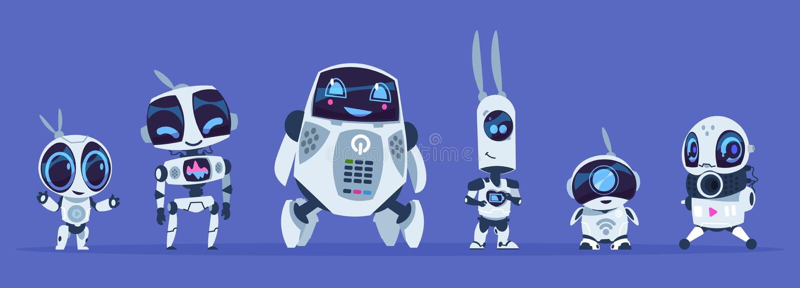 Robots evolution. Creative cartoon characters of futuristic robots, artificial intelligence education evolution concept vector illustration