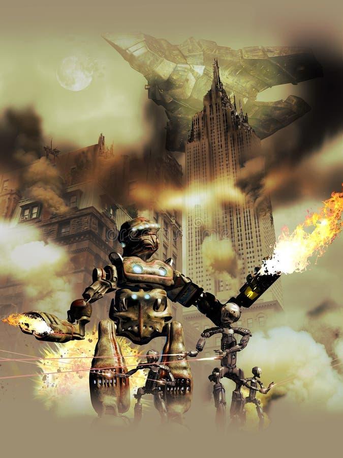 Robots extranjeros que invaden la tierra ilustración del vector