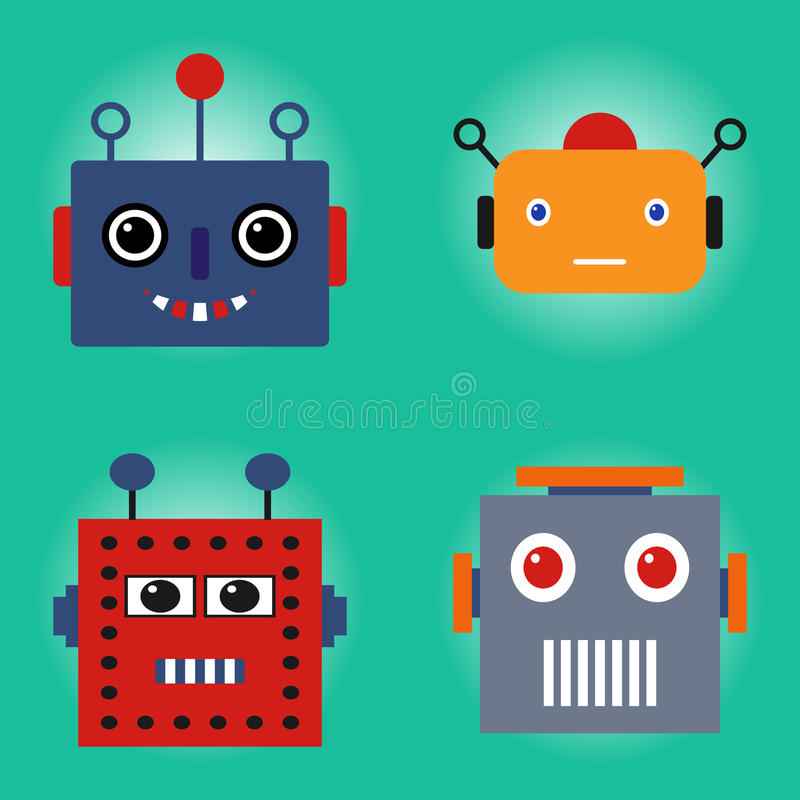 Robots faces set. Retro robots stock illustration