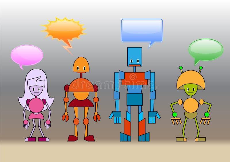 Robots family vector illustration