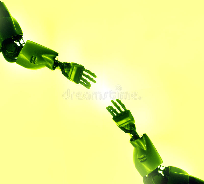 Download Robots fingers touching stock photo. Image of exploring - 9775086