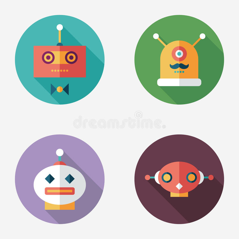 Robots flat round icons with long shadows. Set 12. Intelligent Robots, set 12. Flat round icons with long shadows royalty free illustration