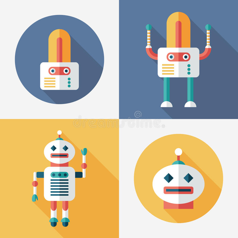 Robots flat round and square icons with long shadows. Set 15. Intelligent Robots, set 15. Flat round and square icons with long shadows stock illustration