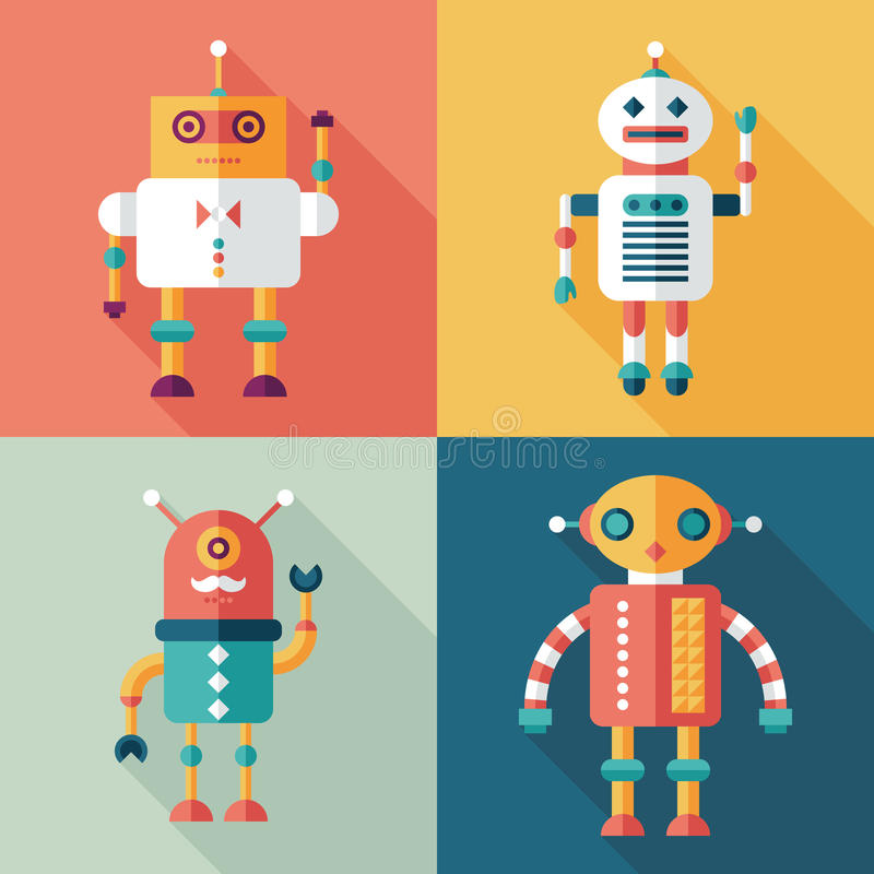 Robots flat square icons with long shadows. Set 11. Intelligent Robots, set 11. Flat square icons with long shadows royalty free illustration