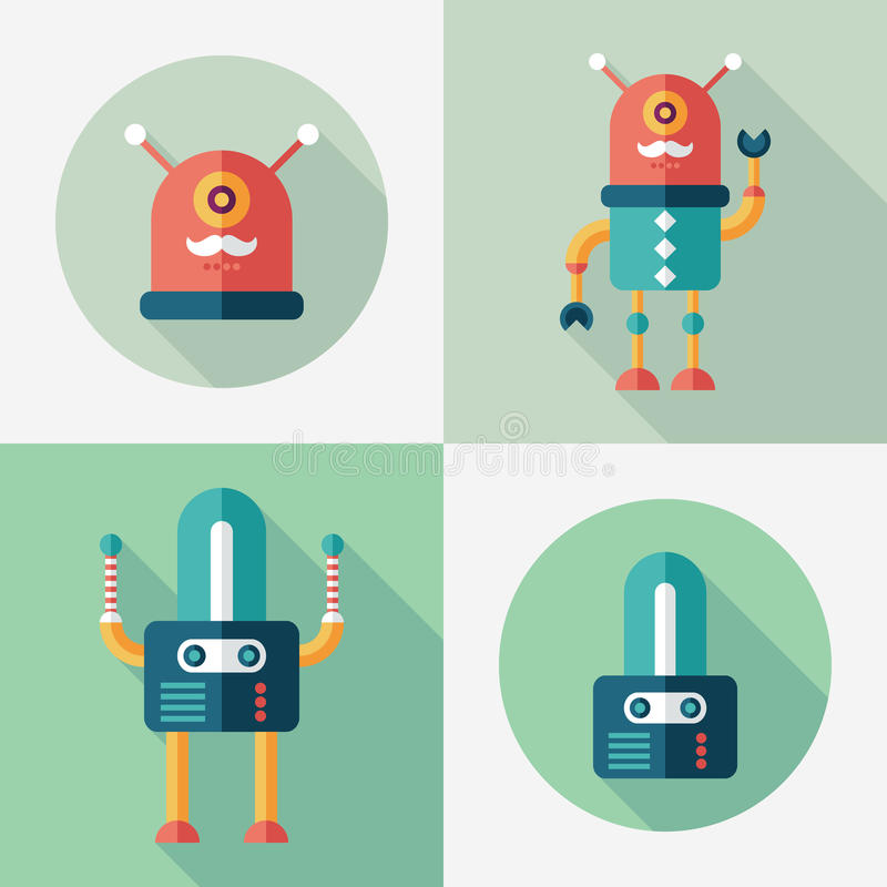 Robots flat square and round icons with long shadows. Set 13 stock illustration