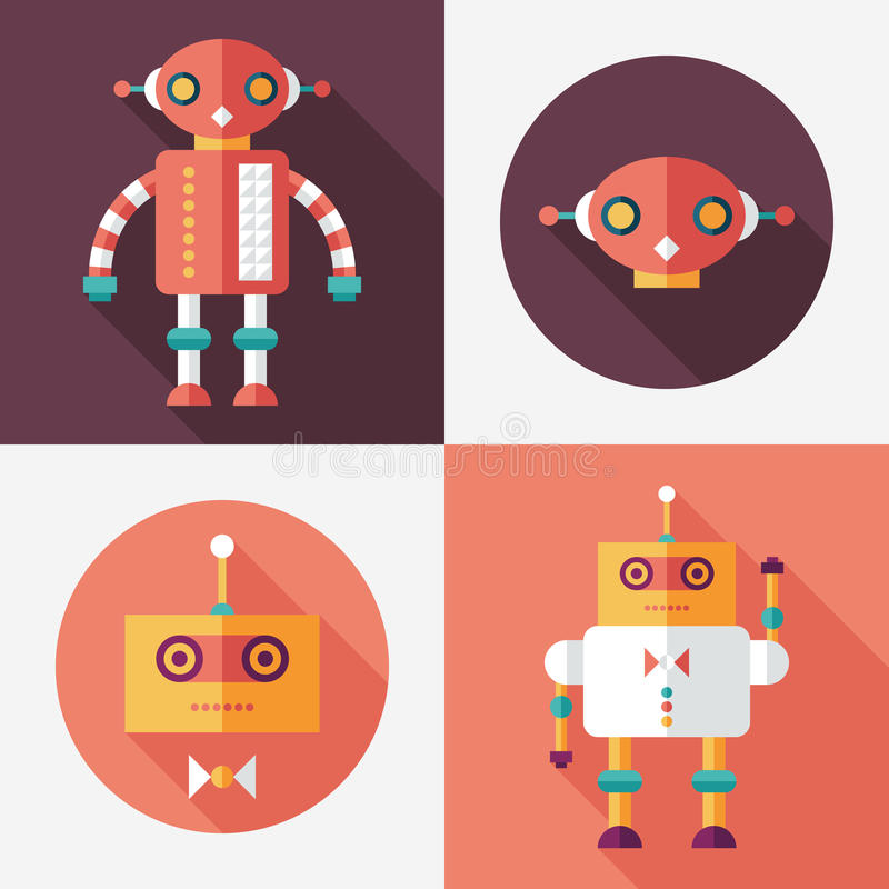 Robots flat square and round icons with long shadows. Set 14. Intelligent Robots, set 14. Flat round and square icons with long shadows stock illustration