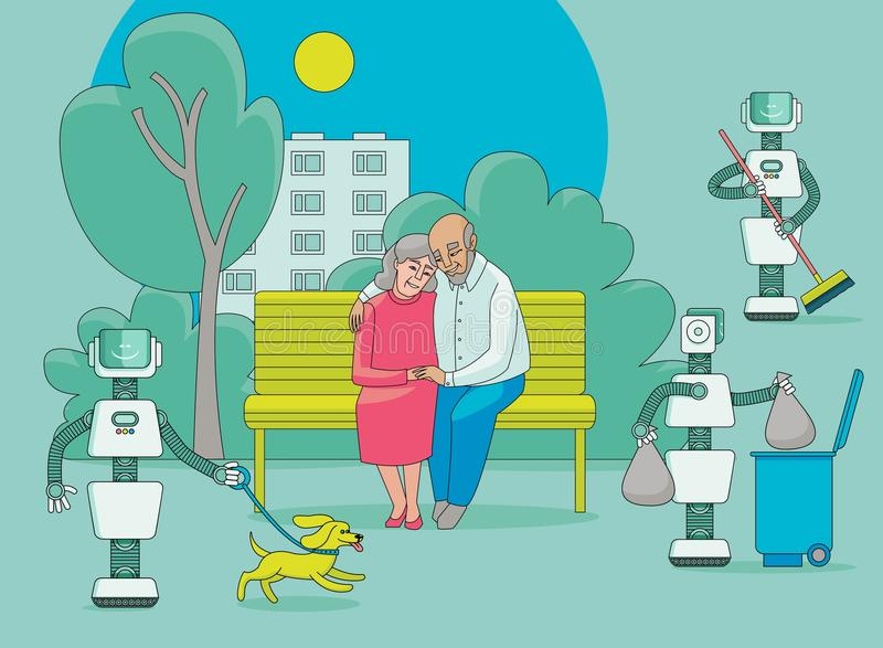 Robots free people from routine, do house work royalty free illustration