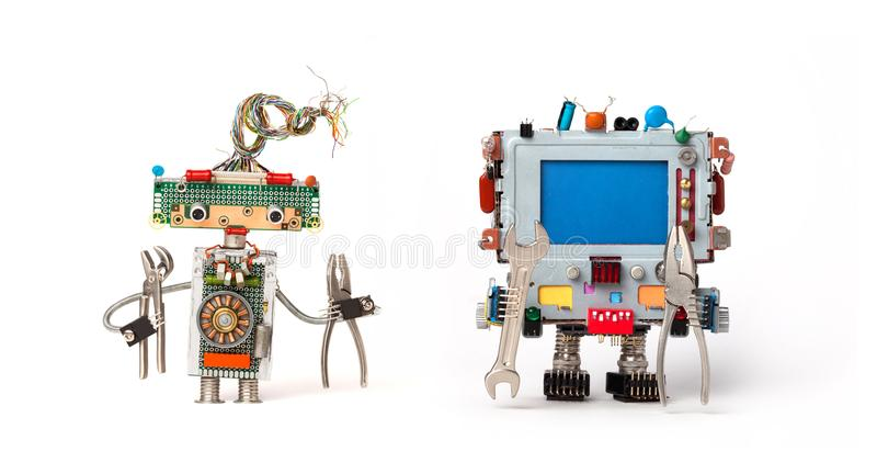 Robots friends ready for service repair. Funny robotic characters with instrument, pliers hand wrenches. Empty blue royalty free stock photos