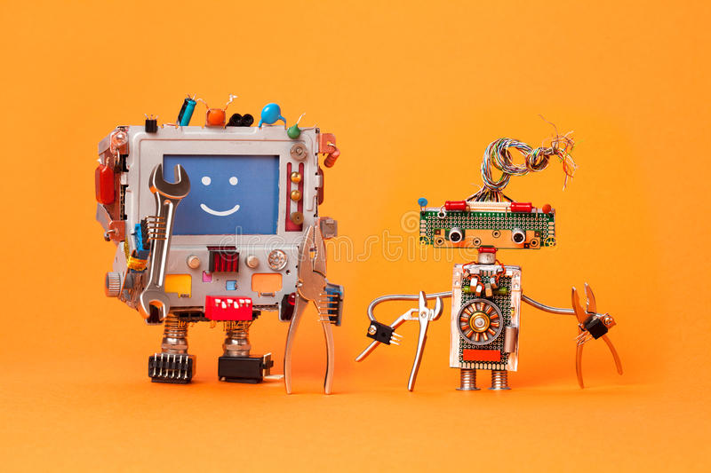 Robots friends ready for service repair. Funny robotic characters with instrument, pliers hand wrenches. Smile message stock photography