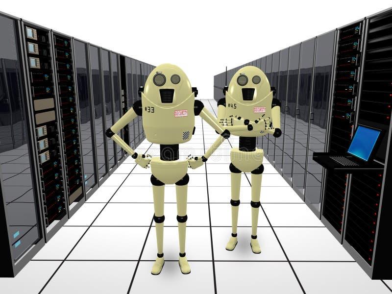 Robots gardant des ordinateurs illustration stock