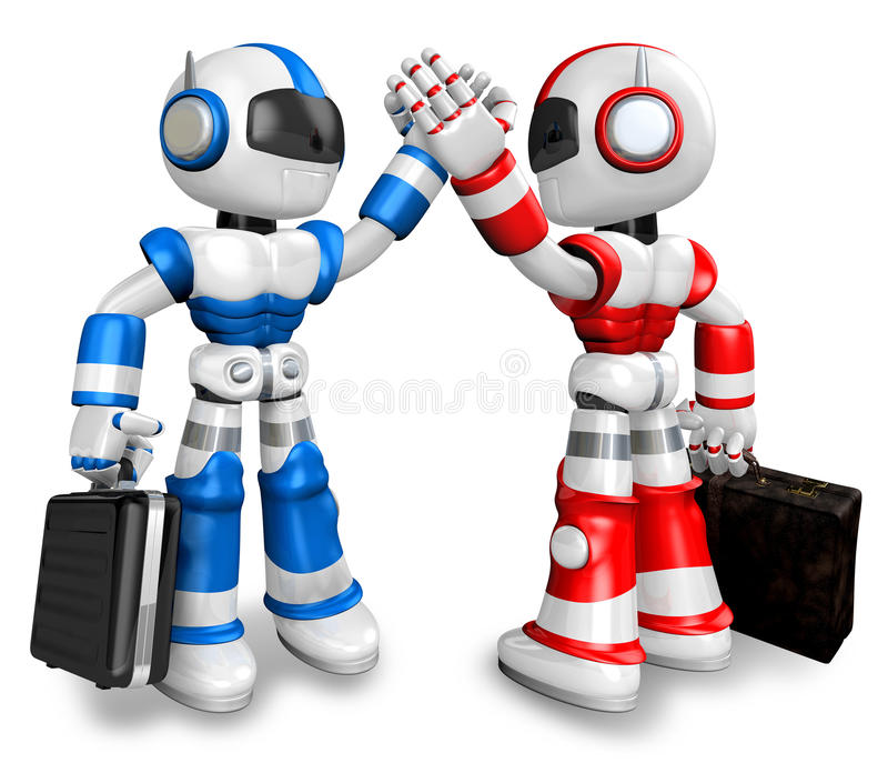 Robots gave each other high fives