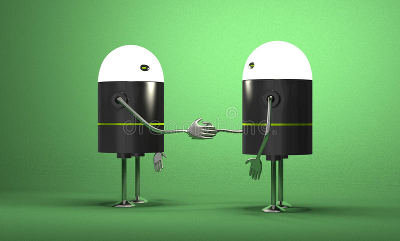 Robots with glowing heads handshaking royalty free illustration
