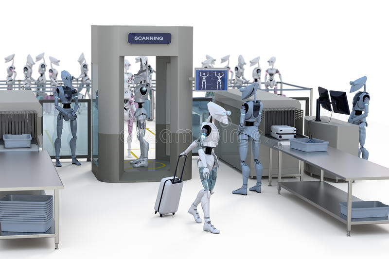 Robots going through security stock photography