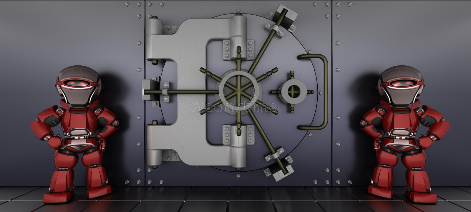 Robots guarding a bank vault stock illustration