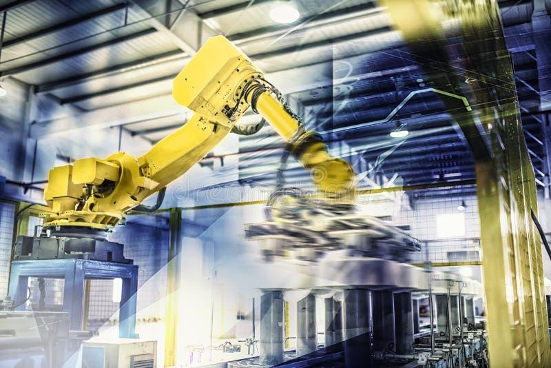 Robots in het werk stock fotografie