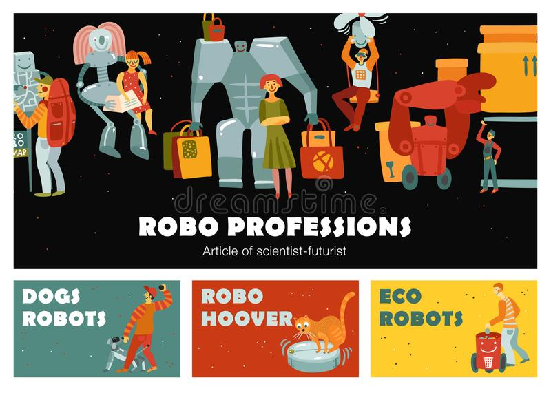 Robots Horizontal Banners. Robots set of horizontal banners with automatic devices dog, navigator, loader, nanny, hoover isolated vector illustration vector illustration